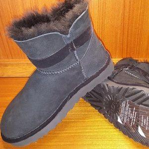 UGG Australia Black Karlie Brooch Shearling Boots
